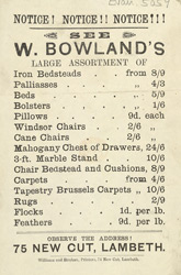 Advert for W Bowland's furniture store